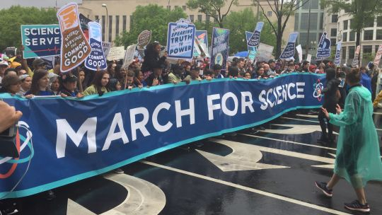 Thousands of scientists attended the March for Science in Washington D.C. to protest against political attacks on climate science and evidence-based research. (Photo: Adam Fagen, Creative Commons via Flickr)
