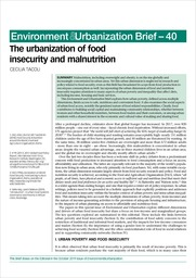 The urbanization of food insecurity and malnutrition