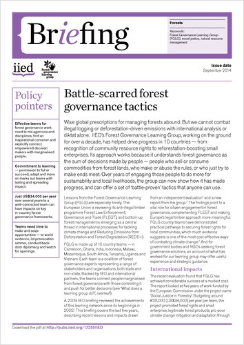 Briefing paper: Battle-scarred forest governance tactics