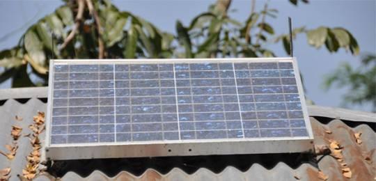 Solar panel on a rural Bangladesh home