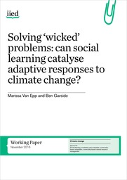 Cover of Solving 'wicked' problems: can social learning catalyse adaptive responses to climate change?