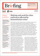 Briefing first page - Making cash work for cities and towns affected by humanitarian crises