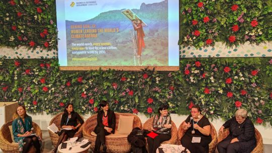 Achala C Abeysinghe (second left) recently spoke on a panel discussion at COP23 on Women Leading the World's Climate Agenda (Photo: Anne Schulthess/IIED)