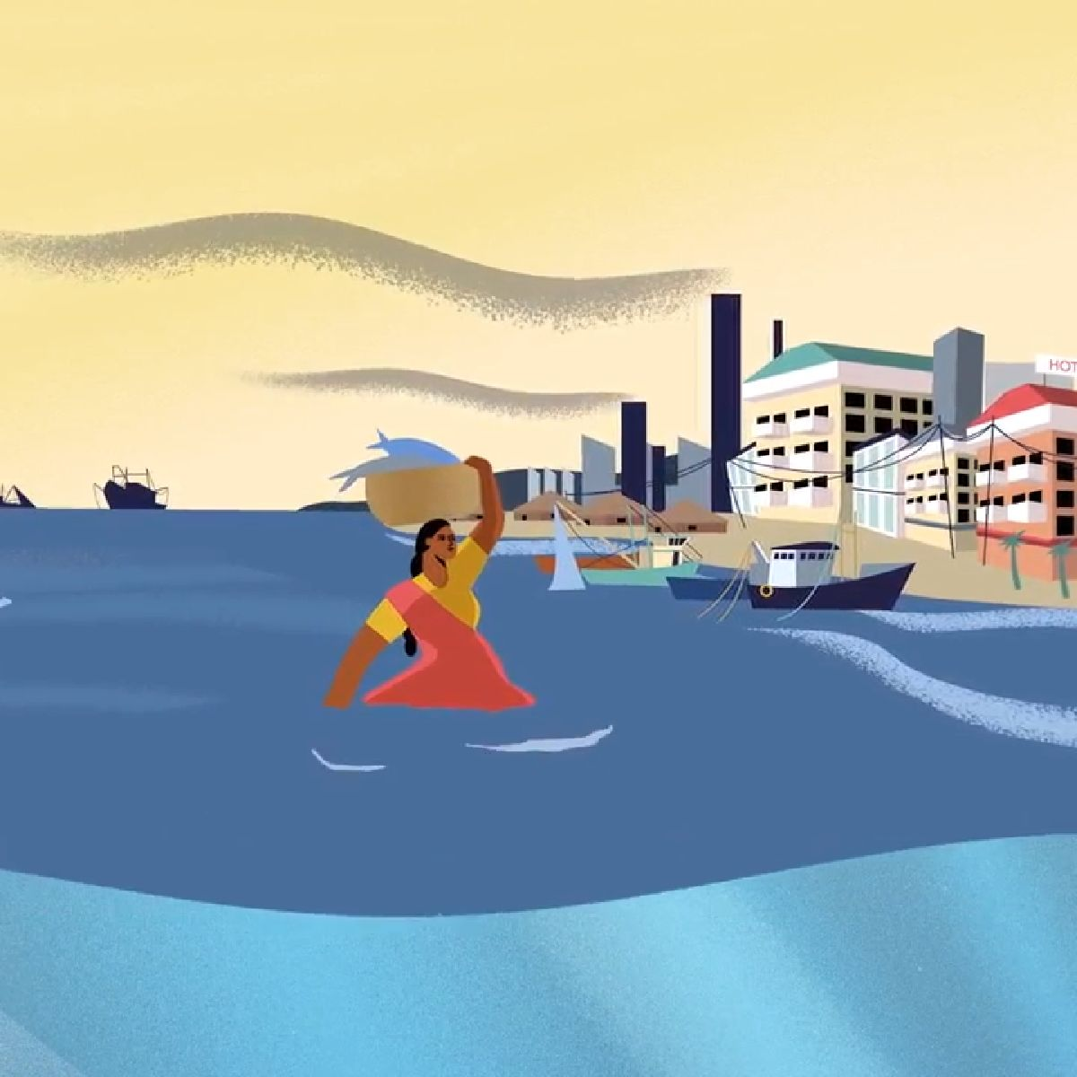 Still image of fisher woman from fiscal policy tools animation