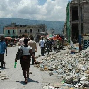 Earthquake debris in the Port-au-Prince city centre (Maggie Stephenson)