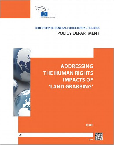 """Cover image of the study """"Addressing the human rights impacts of 'land grabbing'"""""""