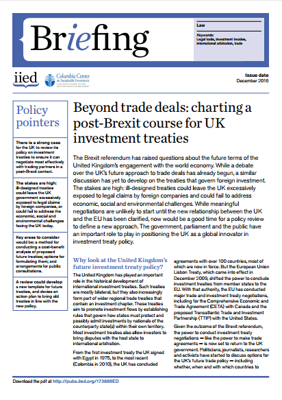 Beyond trade deals: charting a post-Brexit course for UK investment treaties