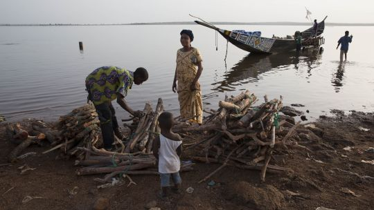 Picture of a woman buying firewood at Bamako, Mali.