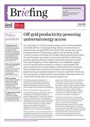 Off-grid productivity: powering universal energy access
