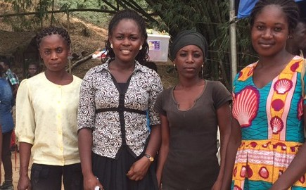 Women including mining engineer Judith Akorfa Buaba (centre) employed at the Dakete mine, in Ghana (Photo: Gabriela Flores Zavala)