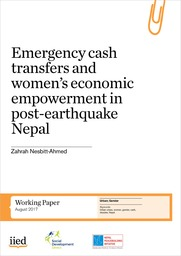 Emergency cash transfers and women's economic empowerment in post-earthquake Nepal