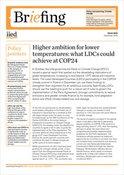Higher ambition for lower temperatures: what LDCs could achieve at COP24