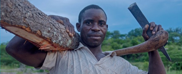 Photo of a man in Zambia carrying a log and pick axe.
