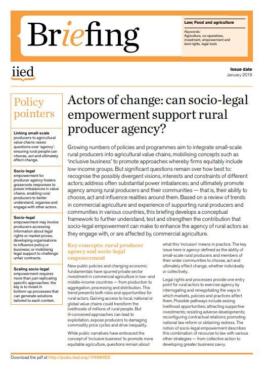 Actors of change: can socio-legal empowerment support rural producer agency?