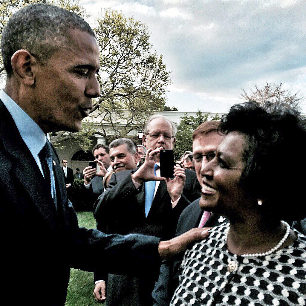 President Barack Obama and CEO Cassandra McCullough