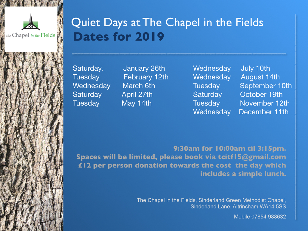 Quiet days at the Chapel, 9:30am for 10am until 3:15pm, £12 per person, booking required