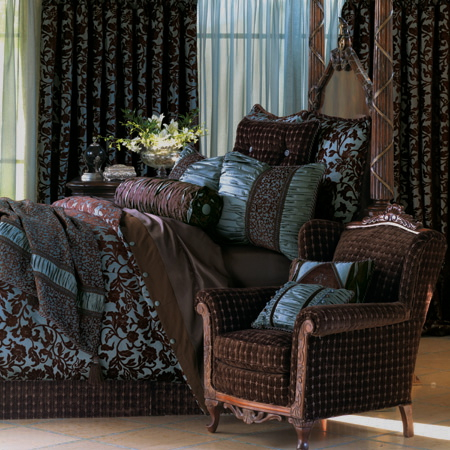 Ellicott City Bedding with rich fudge brown and shades of blue green
