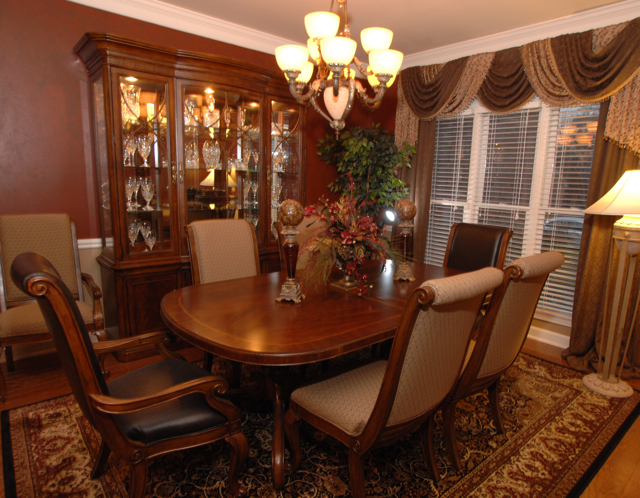 Formal Dining Room in masculine colors and fabrics