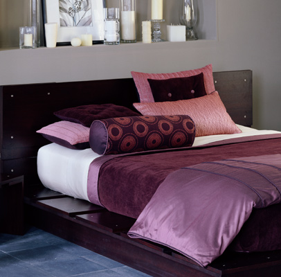 Purple Rain Bedding, a clean lined modern ensemble