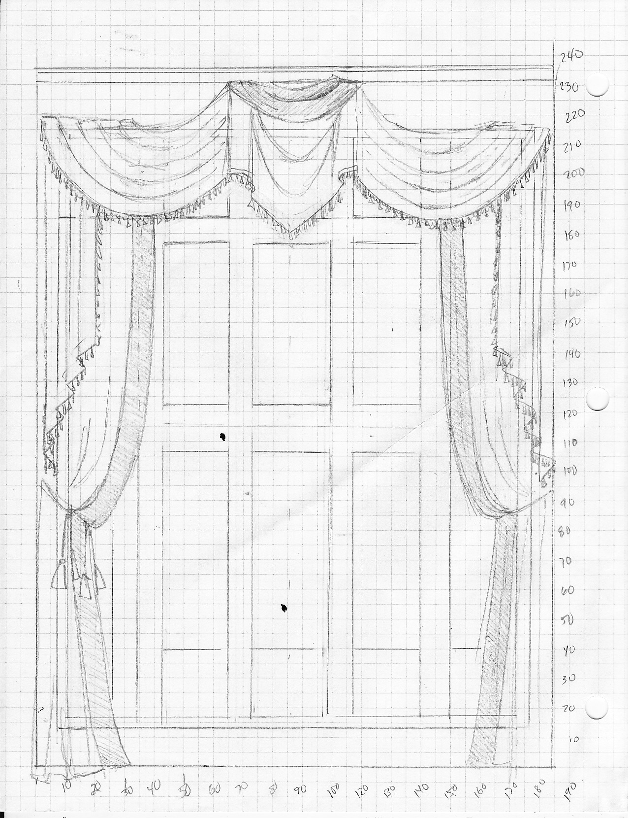 Scale drawing for 22ft high formal swag drapery treatment