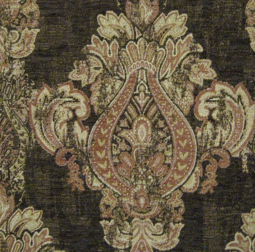 Antique Crest fabric is a chenille tapestry with vintage Old World look