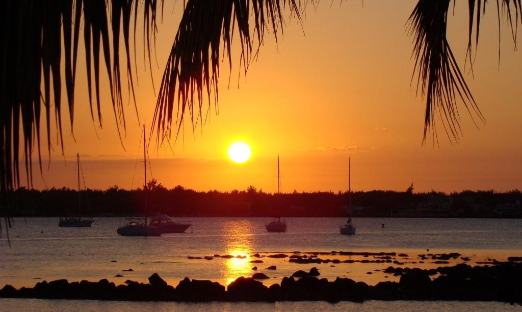 zonsondergang in Mauritius