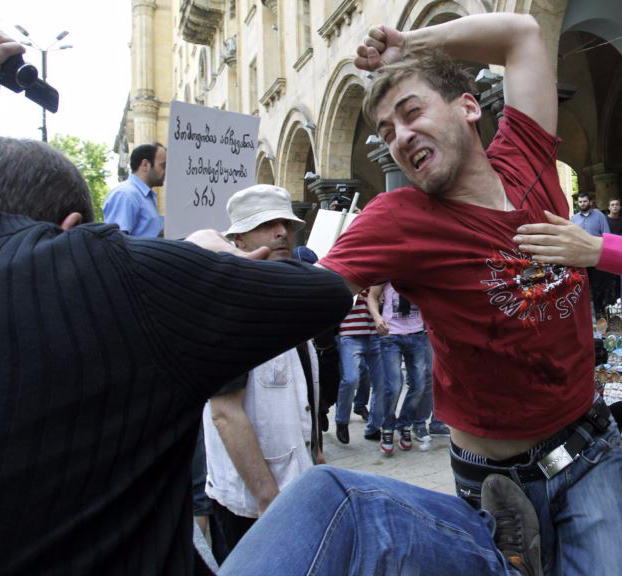 Pride Marchers Clash with Violent Protesters in 2012 in Tiblisi
