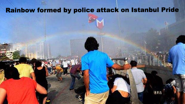 Istanbul Pride Disrupted - Water cannons form rainbow!