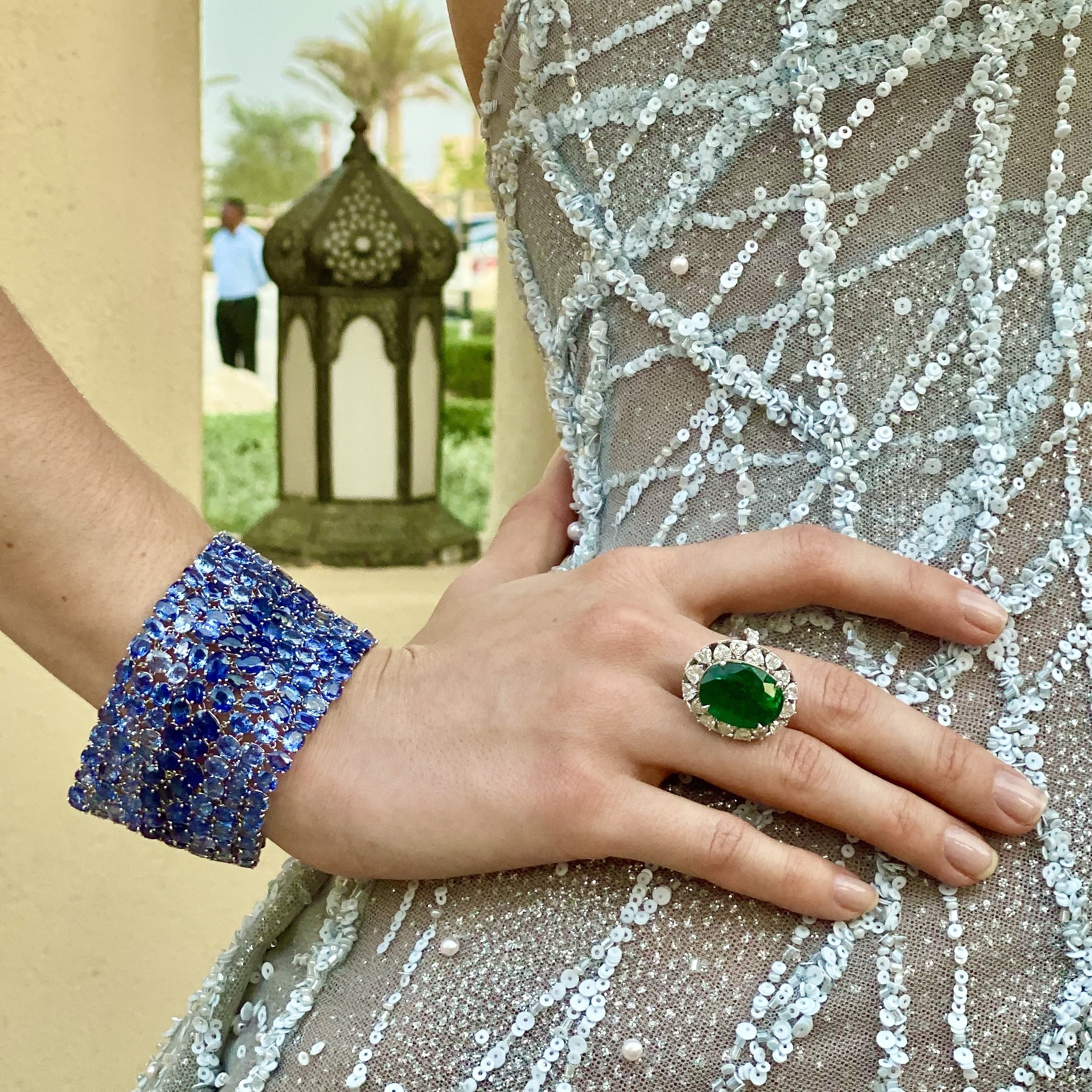 Emirati Collection Launch Ceylon Sapphire Colombian Emerald Diamond Ring Bracelet Jewellery