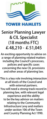 Tower Hamlets Senior Planning Lawyer and CIL Specialist