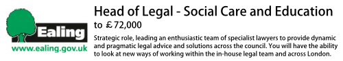 Ealing: Head of Legal - Social Care - to £72k