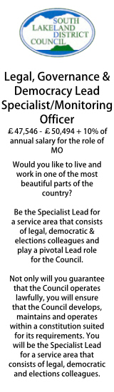 South Lakeland - Legal, Governance & Democracy Lead Specialist/MO