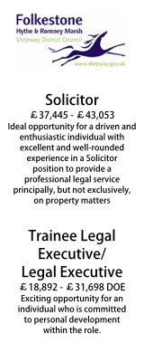 Shepway DC Principal Solicitor and Trainee Legal Exec