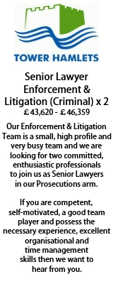 Senior Lawyer Enforcement and Litigation Tower Hamlets