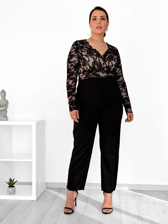 Ολόσωμη Plus Size Φόρμα Με Δαντέλα Μαύρη - Soul Searcher