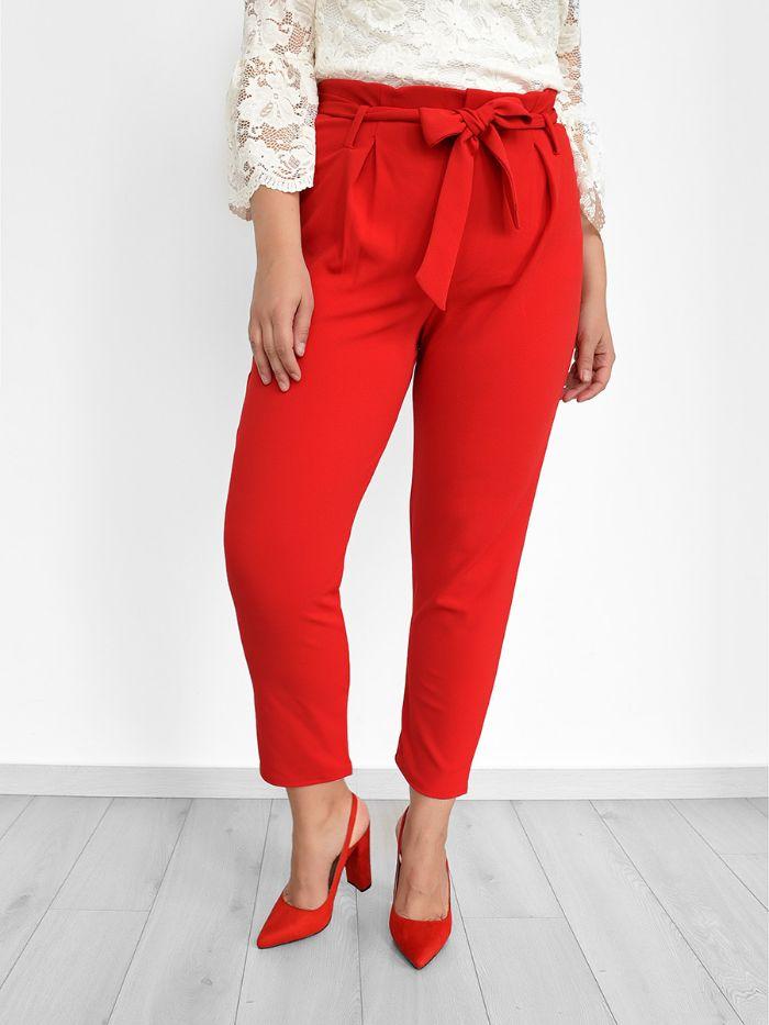 Plus Size Παντελόνι Με Ζώνη Κόκκινο - Melina