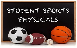 Student sports physical on chalkboard with soccer ball, football, baseball, and basketball