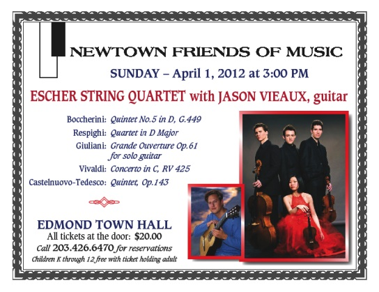 Escher String Quartet with Jason Vieaux, guitar, presented by Newtown Friends of Music, Sunday, April 1 at 3:00pm, Edmond Town Hall