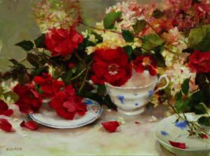 Red Roses and Wedgewood, Kathy Anderson
