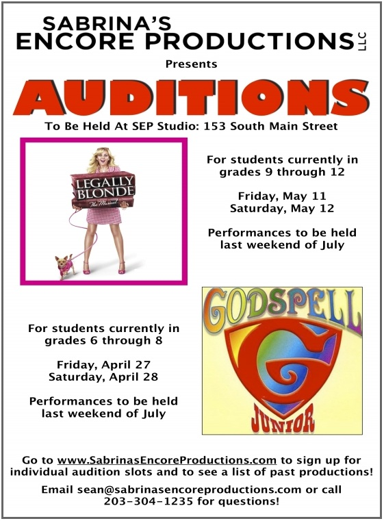 Sabrina's Encore Productions Auditions:  Godspell Jr., April 27-28;Legally Blond, May 11-12