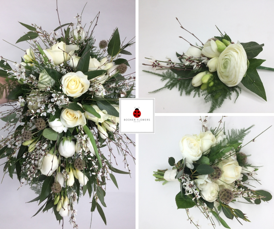 White and Green Flowers for Rustic Wedding at Meols Hall