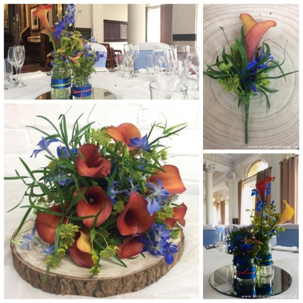 Orange and Blue Wedding Flowers