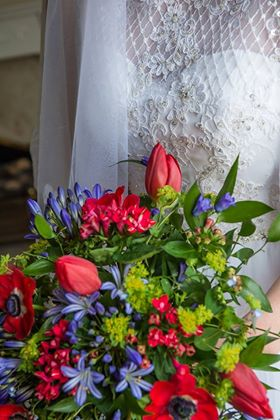 Red and Blue Bride Bouquet