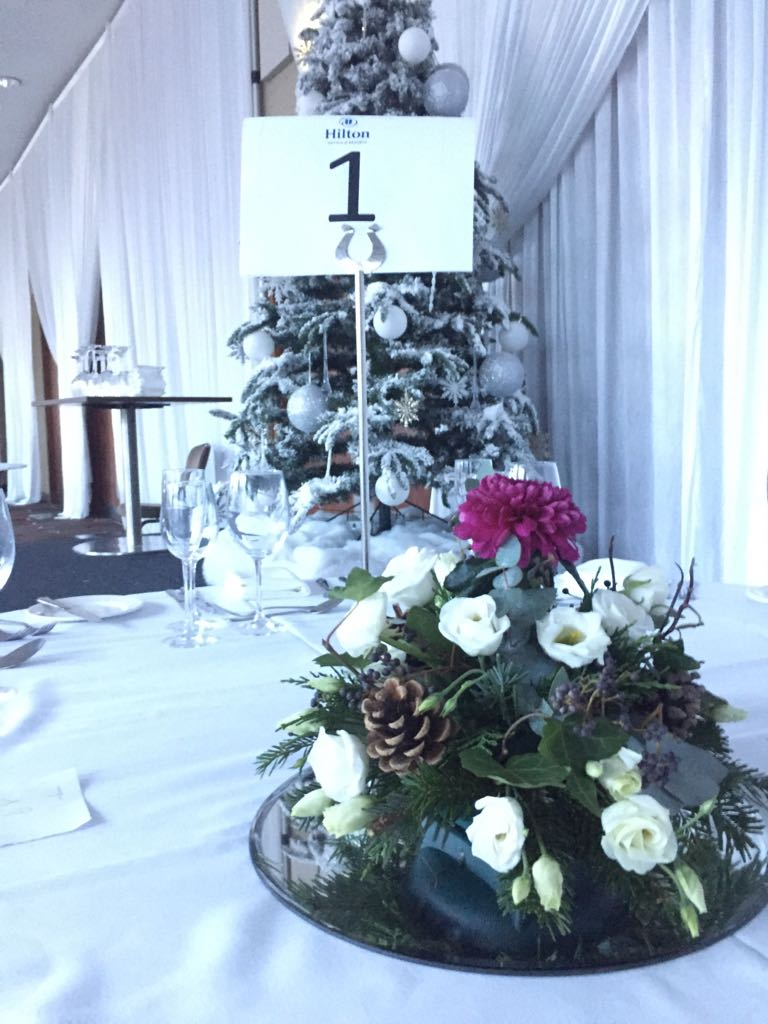 Christmas Table Arrangements at The Hilton Hotel