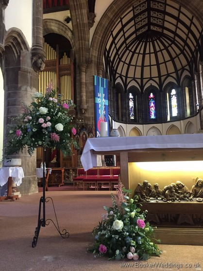 Rustic Pedestal and altar arrangements at St Annes Church