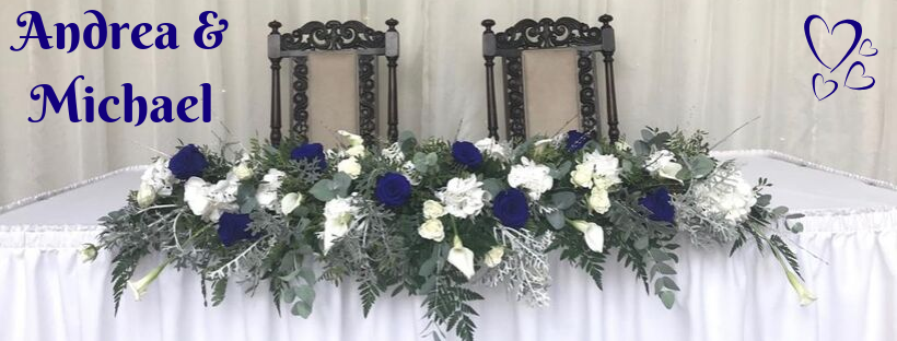 Blue and White Wedding Flowers for Top Table