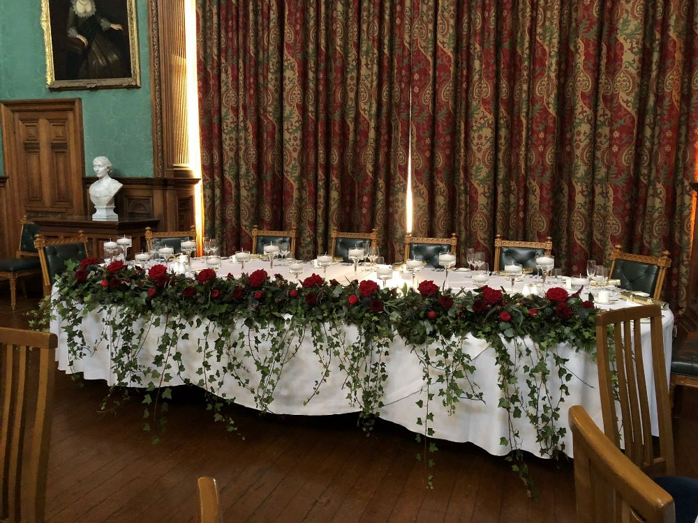 Winter Wedding Top Table Arrangement