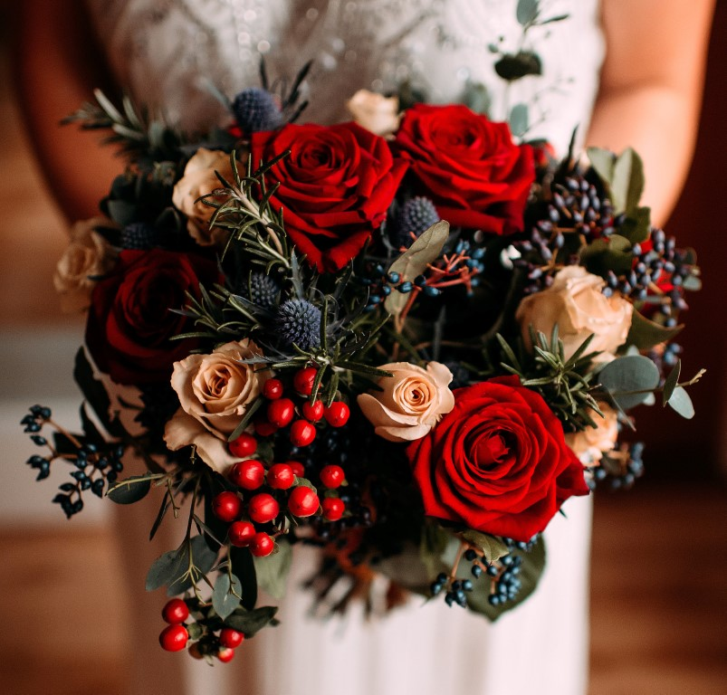 Winter Wedding Red Roses