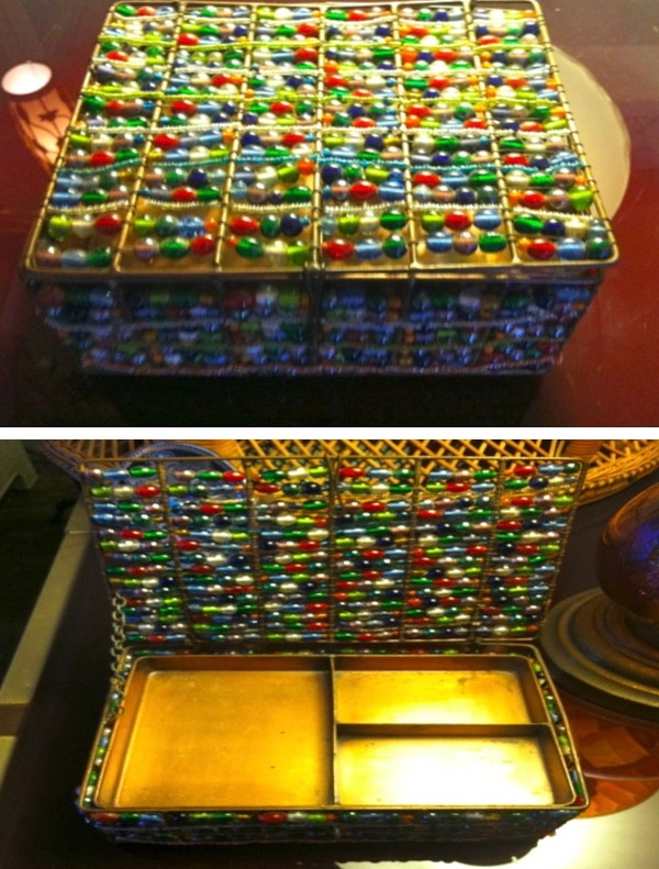 1970s Hand Beaded Jewelry Box