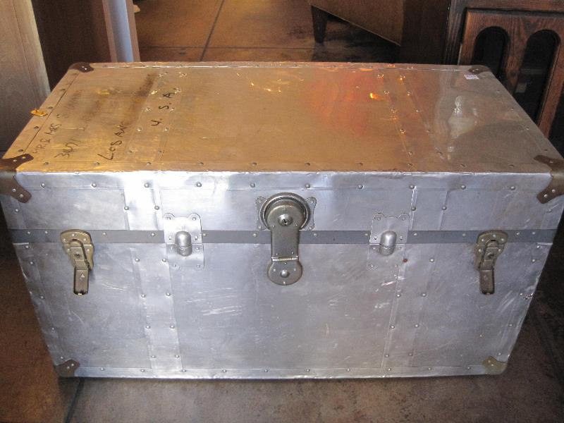 1940s Aluminum Steamer Trunk